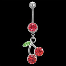 Belly ring - cherries with leaf