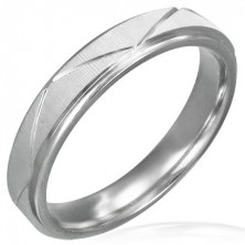 Surgical steel ring - matt color with wide lines