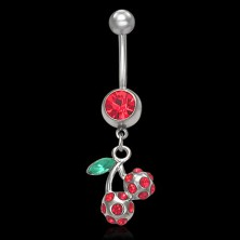 Red cherries belly ring with zircon