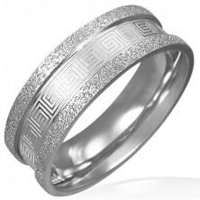 Sanded steel ring - Greek key pattern