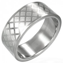 Stainless steel ring - grid pattern
