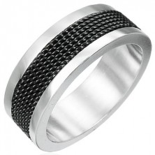 Stainless steel black mesh ring
