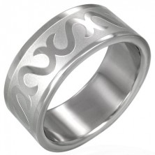 Stainless steel ring - decorative S pattern