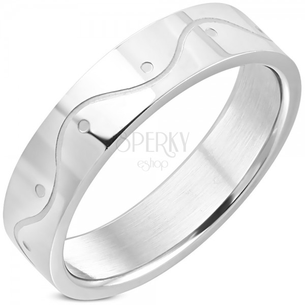 Stainless steel ring in silver colour - a wave, 6 mm