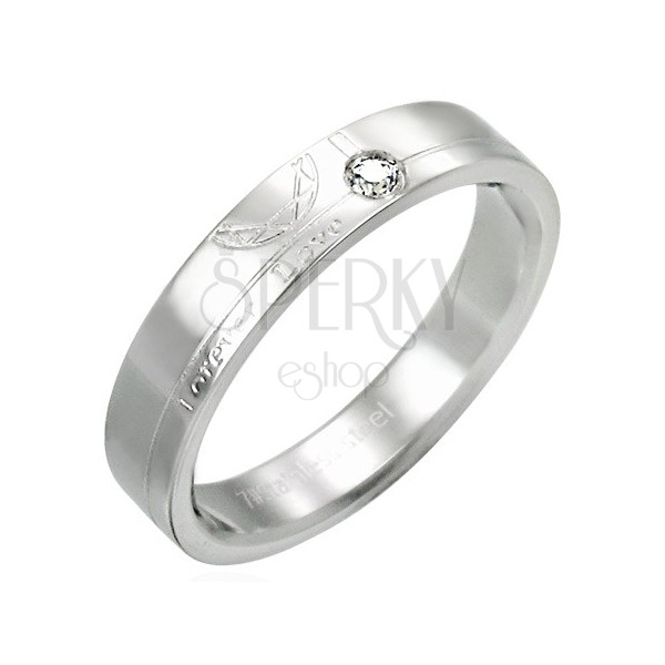 Stainless steel ring with zircon - Forever Love