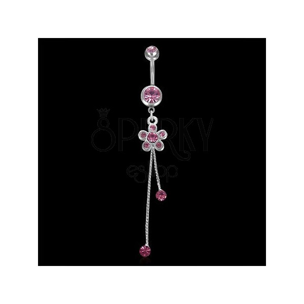 Navel ring - flower with zircons