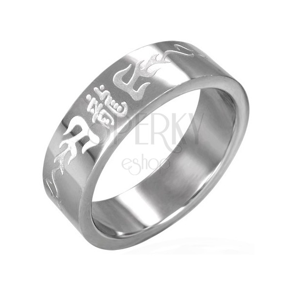 Stainless steel ring with Chinese letters