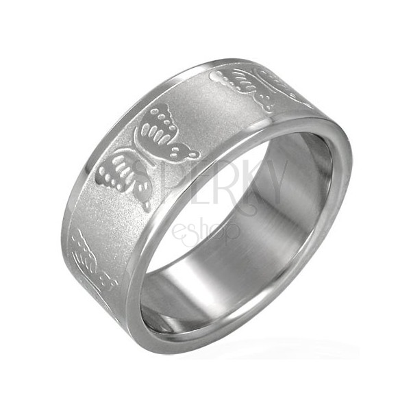 Stainless steel ring with butterflies