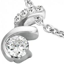 Steel pendant with zircons