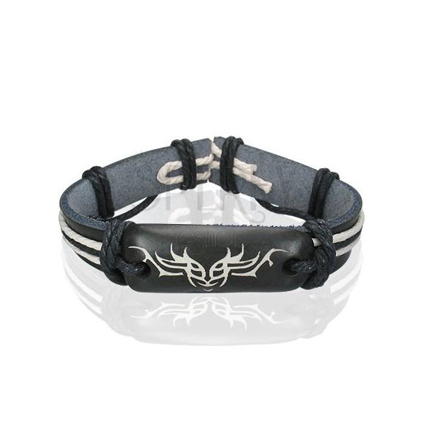 Black leather bracelet - Tribal symbol