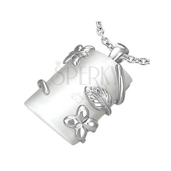 Rectangular pendant with floral design