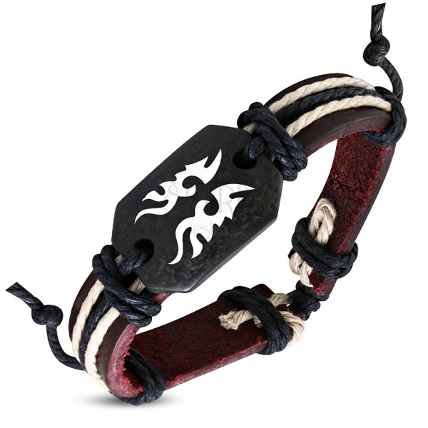 Leather bangle - brown, Tribal motif