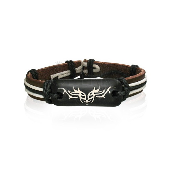 Brown leather bangle with Tribal symbol