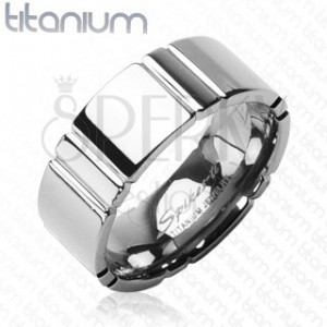 Titanium ring with cross lines