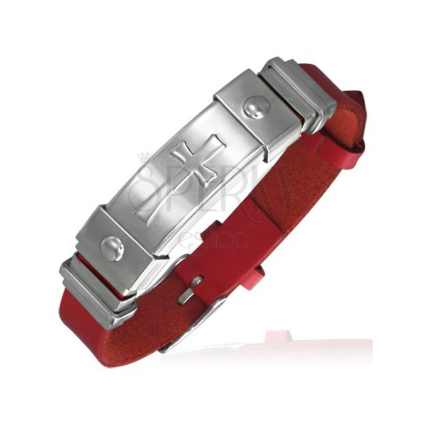 Red leather bracelet with steel cross