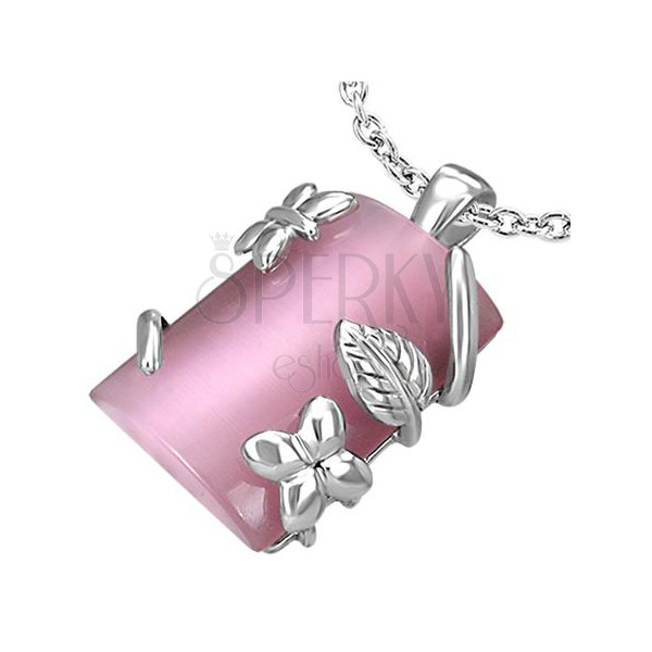 Rectangular steel pendant with floral ornament - pink