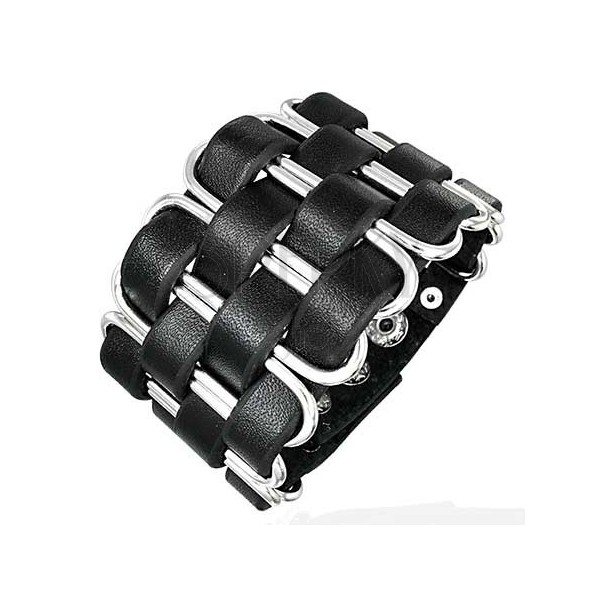 Black leather bangle - braid made of narrow strips