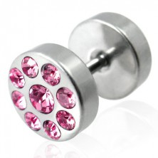 Fake plug in a silver colour with zircons - barbell motif