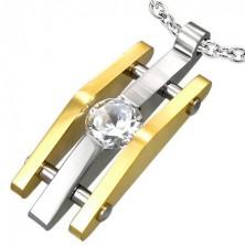 Stainless steel line pendant with zircon