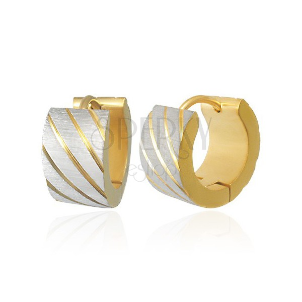 Round steel earrings - diagonal pattern, grounded