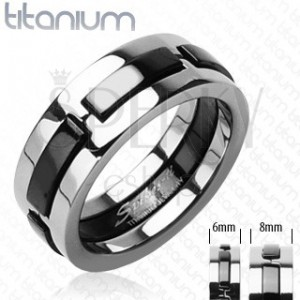 Titanium ring with black protruding strips
