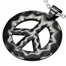 Black Hippie steel pendant - the PEACE sign