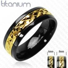 Black titanium ring with patterned golden stripe