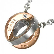 Stainless steel ball pendant engraved with I Love you most