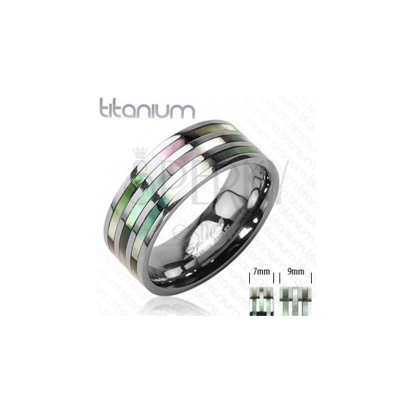 Titanium ring with three pearly stripes in rainbow shades