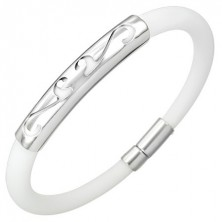 Round rubber bracelet - ornament, white colour