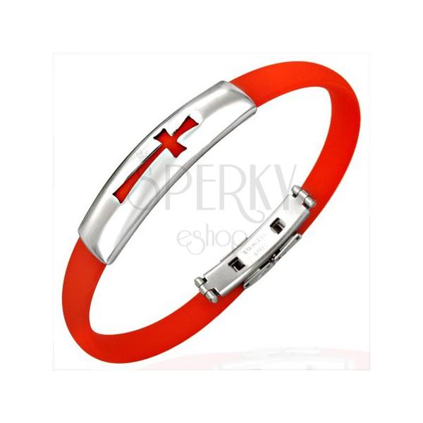 Flat rubber bracelet - cross, red