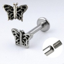 Chin labret steel piercing - butterfly with wings adorned with cuts