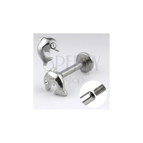 Chin piercing labret made of steel - glossy jumping dolphin with a zircon eye