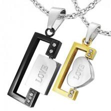 Set of rectangular pendants with LOVE inscription