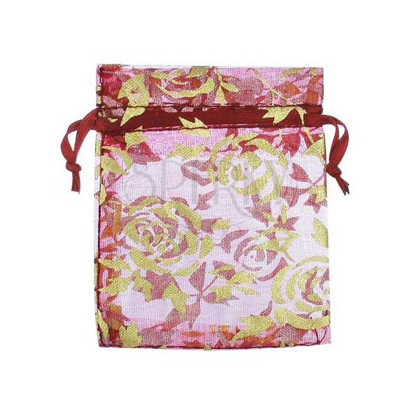 Small burgundy bag with gold flowers