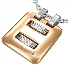 Steel pendant - rectangular coil with zircon