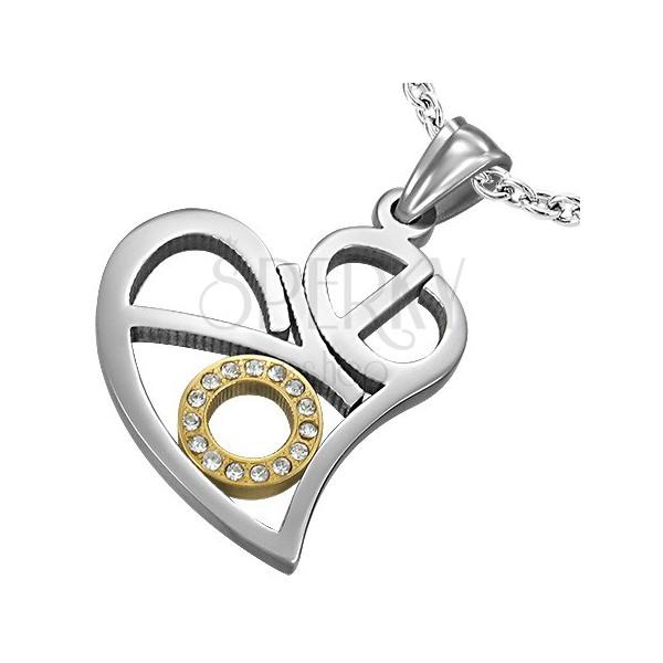 LOVE heart pendant made of steel