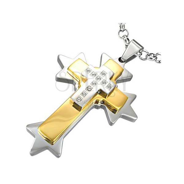 Spiked cross stainless steel pendant - two colour combination