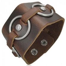Brown leather bracelet - metal circles