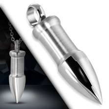 Steel pendant of silver colour - bullet with glossy peak pike