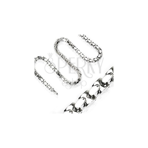 Chain made of surgical steel, shiny diagonally joined H-links, silver colour