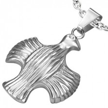 Stainless steel pendant - eagle with spread wings