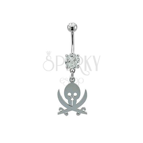 Navel ring - skull and swords