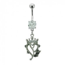 Royal heart belly button ring