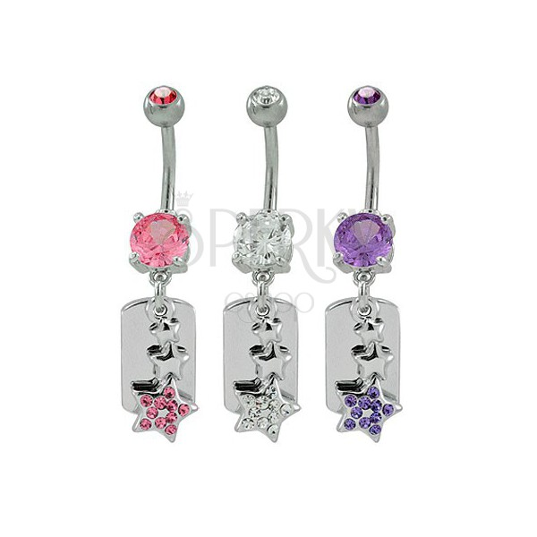 DOG TAG belly button ring with star