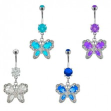 Antique style butterfly belly button ring