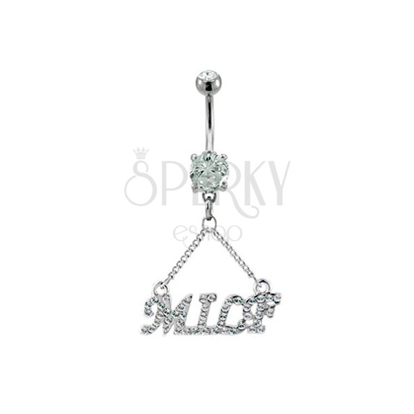 Belly ring - zirconic inscription of MILF