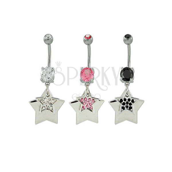 Navel ring with stars and rhinestones