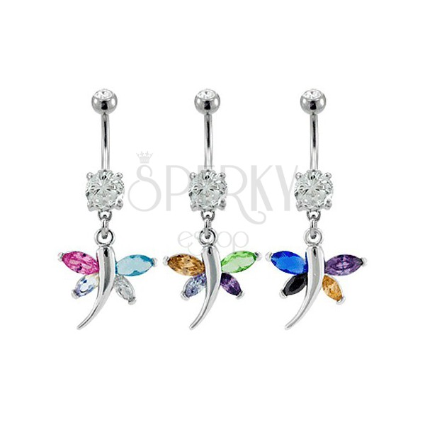 Colorful dragonfly belly button ring