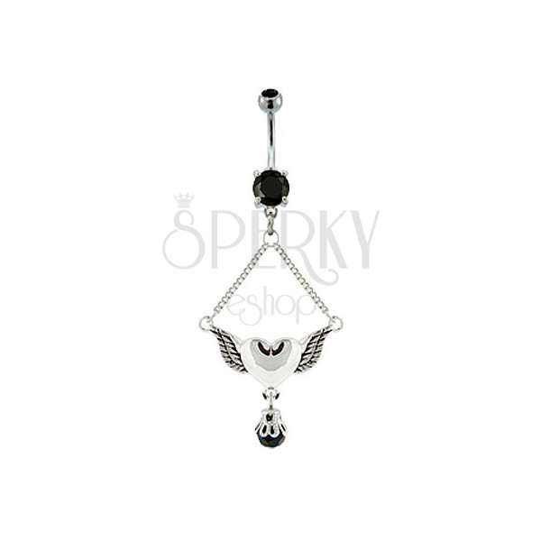 Navel ring - heart with pair of wings